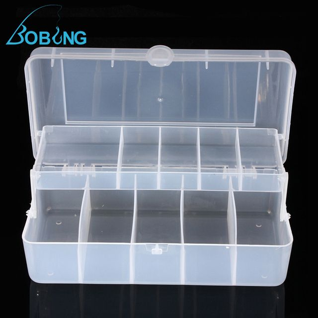 Bobing Compartments Carp Fly Fishing Lure bait Tackle Box Case Double layer Strength Transparent Visible Fishing Accessories