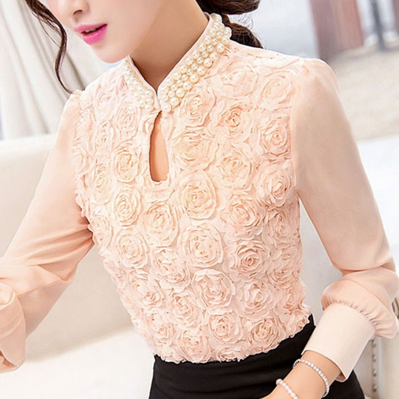 2016 New style Fashion Sexy Flower Beaded lace Tops Women Chiffon blouse long sleeved Casual shirt Patchwork Women clothing 160E