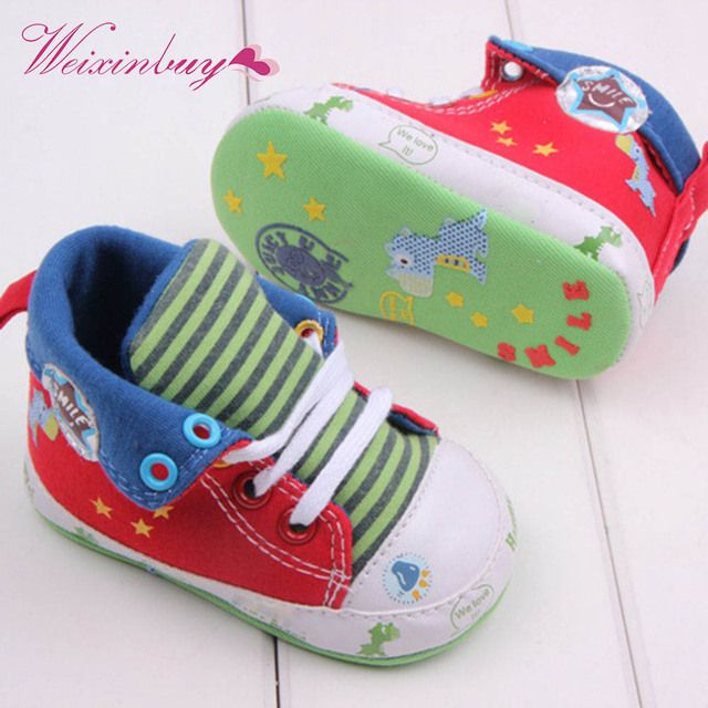 WEIXINBUY Cute Cartoon Printed Baby Kids High Shoes Casual Anti-Slip Toddler Walk Sneaker