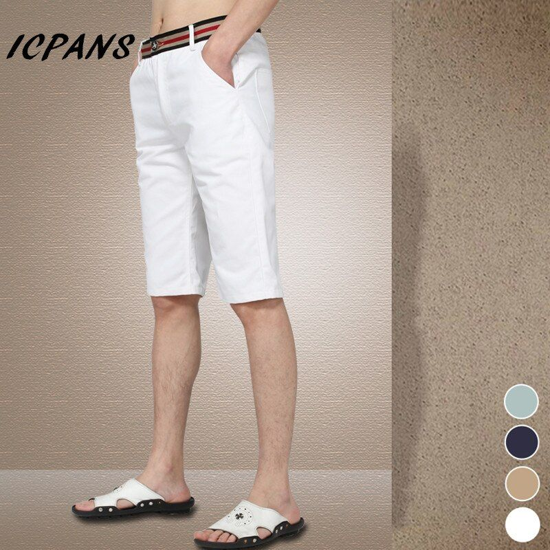 Big Size 29-42 New 2018 Summer Men shorts Slim men's clothing Knee-Length  casual Shorts White  A2939