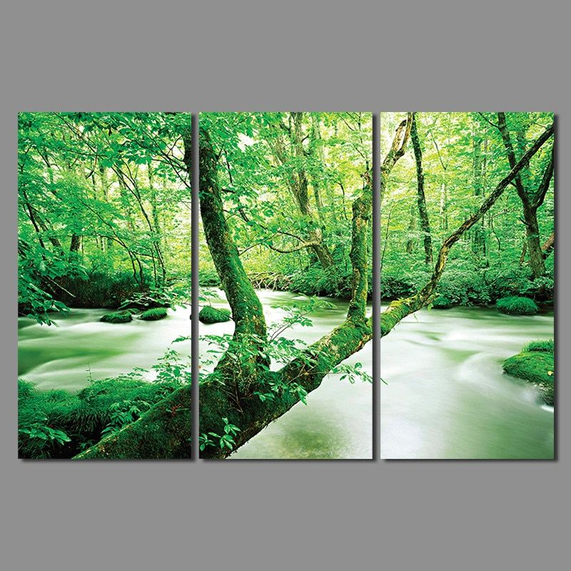 Green forest trees 3 pcs Landscape children living room kids Decoration Canvas printed Painting wall art Home decor unframed