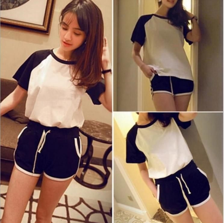 2016 summer new short-sleeved T-shirt raglan sleeve slits shorts casual two-piece track suit female tide