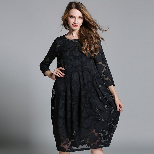 2017 European design two pieces women floral hollow dresses plus size spring flowers women lantern dresses black/navy/wine red