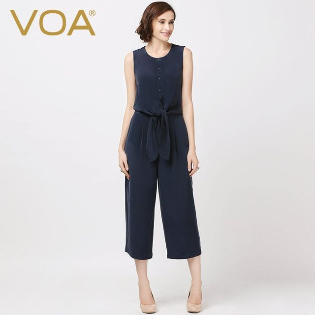 VOA 2017 summer new blue heavy silk straight jumpsuit England female wide leg pants K5871