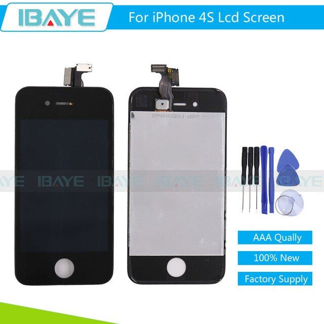 AAA Quality Black For iPhone 4S LCD Display Touch Screen Digitizer Assembly Frame Replacement + Repair Set with Tracking No