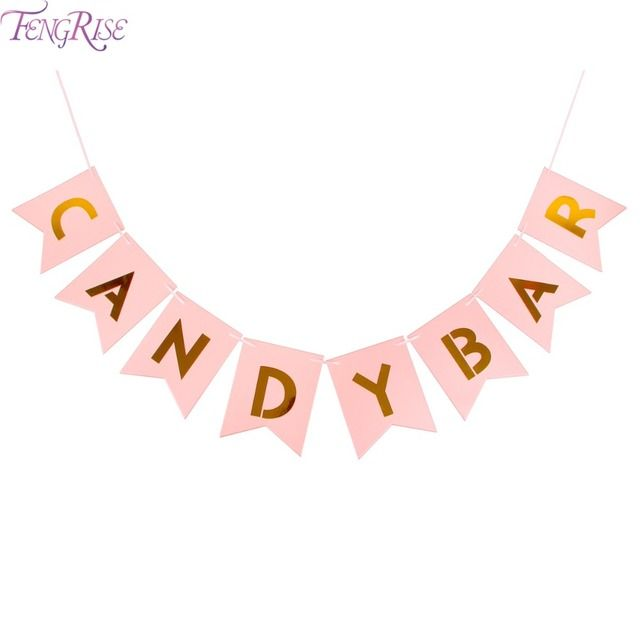FENGRISE Kraft Paper Candy Bar Bunting Banner Wedding Party Signs Candy Buffet Kids Boy Girl Birthday Decoration Event Supplies