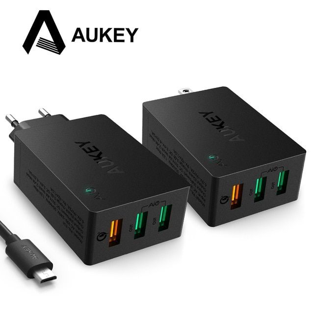 AUKEY USB Charger Quick Charge 3.0 3-Port Mobile Wall Phone Charger for LG G5 Xiaomi Samsung Galxy s8 Nexus 6P Apple Smartphones