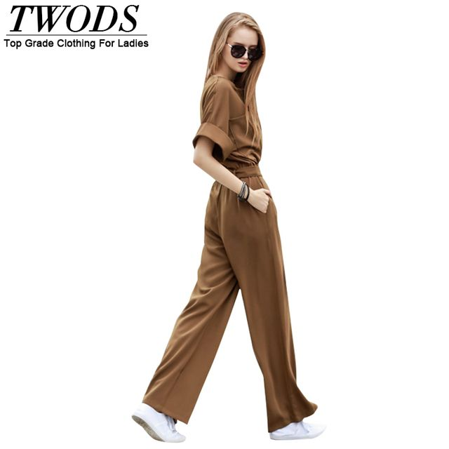 Twods Casual Loose Summer Women One Piece Jumpsuit Roll Up Short Sleeve Belted Twin Pockets Wide Leg Pants Rompers S M L