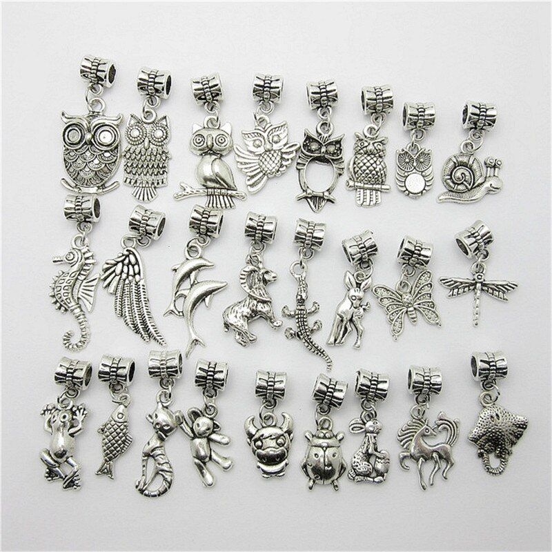 Mix 30pcs Fashion Big Hole Loose Beads European Pendant Animal Bead Fits Pandora Charms Bracelets & pendants diy Jewelry
