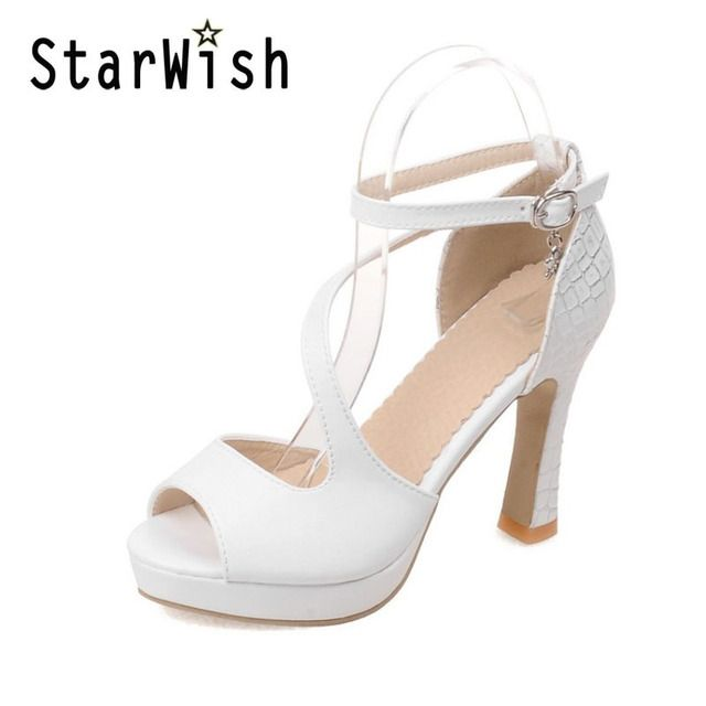 STARWISH New Fashion Open Toe Platform High Heels Sandals Sexy Cross Strap Gladiator Sandals For Women High Heeled Summer Shoes