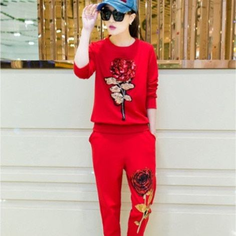 Europe 2016 spring new casual Women's Sets suits, cotton sweater sequined roses + trousers