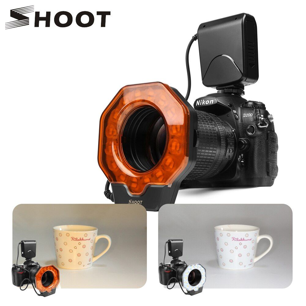 SHOOT for Digtal Camera Led Macro Ring Flash Light for Canon 1300D 6D Nikon D5300 D3400 D7200 D750 Olympus e420 Pentax K50 Dslr