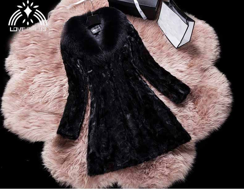 Genuine natural real mink fur coat with big fox fur collar women fashion warm winter jacket overcoat custom any size