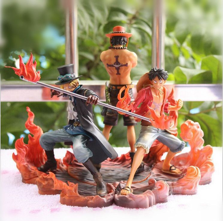 One Piece Figure Ace Luffy Sabo Collectible Action Figure Japanese Anime Figure PVC Cartoon Figurine One Piece Toys OP24