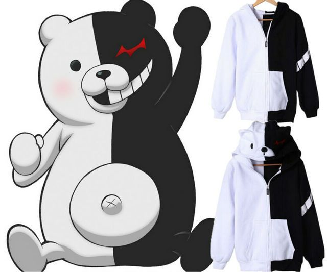 Unisex Clothing Anime Dangan Ronpa Monokuma Coat Casual Cosplay Sweatshirts Hoodie