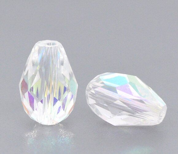 DoreenBeads Clear AB Color Crystal Glass Faceted Teardrop Beads 5500 11x8mm, sold per packet of 50(B10449), yiwu
