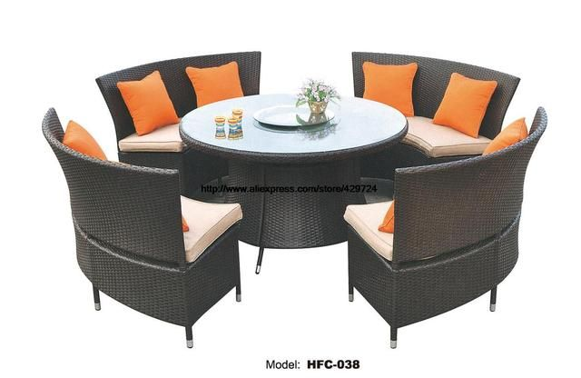 Creative Outdoor Furniture Rattan Sofa Chair Table Set 1.2M Glass Table Gardern Leisure balcony furniture combination Chairs