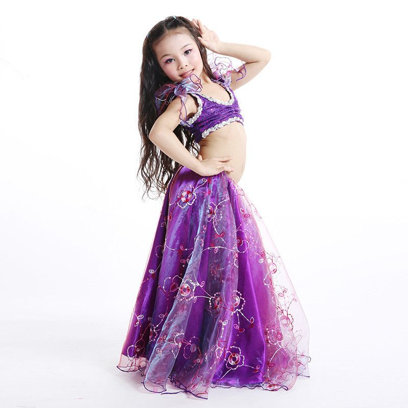 Children child Bellydance oriental Belly Indian gypsy dance dancing costumes clothes bra belt scarf ring skirt dress set suit 67