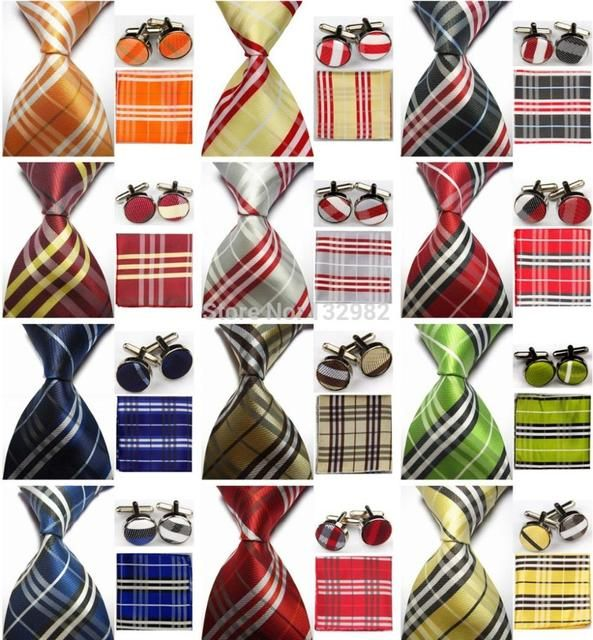 "4""/10cm Wide Mens Accessories Check Pattern Business Silk Tie Set Hanky Handkerchief Cufflinks Necktie for Men"