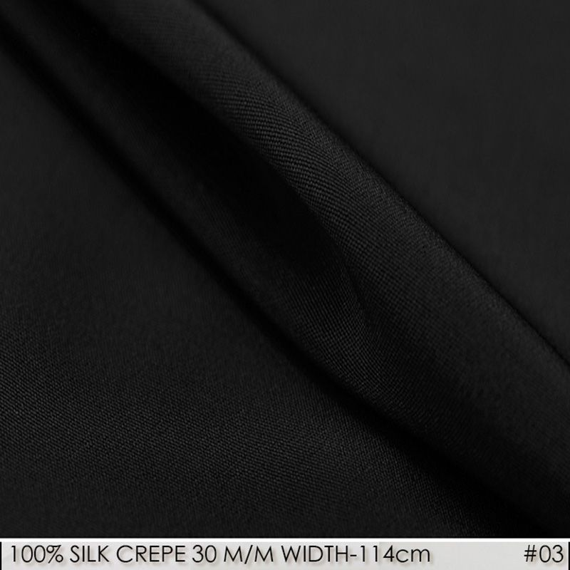 SILK CREPE DE CHINE 114cm width 30momme100% Pure Silk Fabric Heavy Silk Fabric Dress Silk Fabrics Textile Black  NO 03