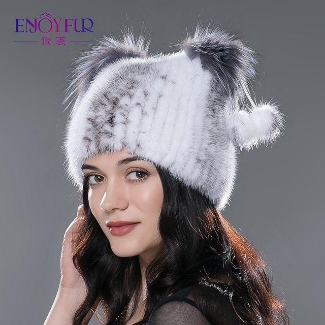 women's genuine mink fur hat with fur pom poms winter autumn lovely cat ear style caps 2015 latest brand new hats for girls