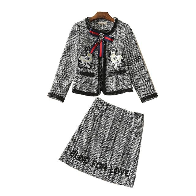 High Quality 2016 Autumn Winter New Women Suits Set Gray Woolen Puppies Letters Embroidered Bow Coat Skirt Suit CT057