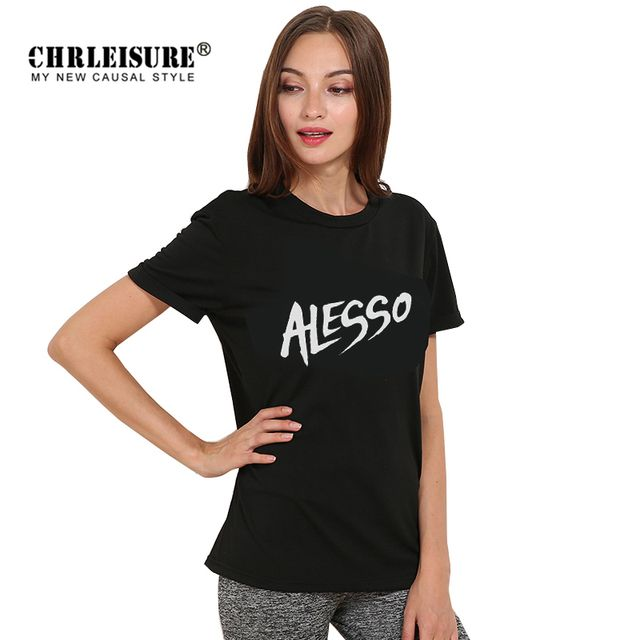 CHRLEISURE Alesso Spain Letters Printed XS-XL Women T Shirt Tops Casual Loose Black White Clothing For Girl Lady Female T Shirts