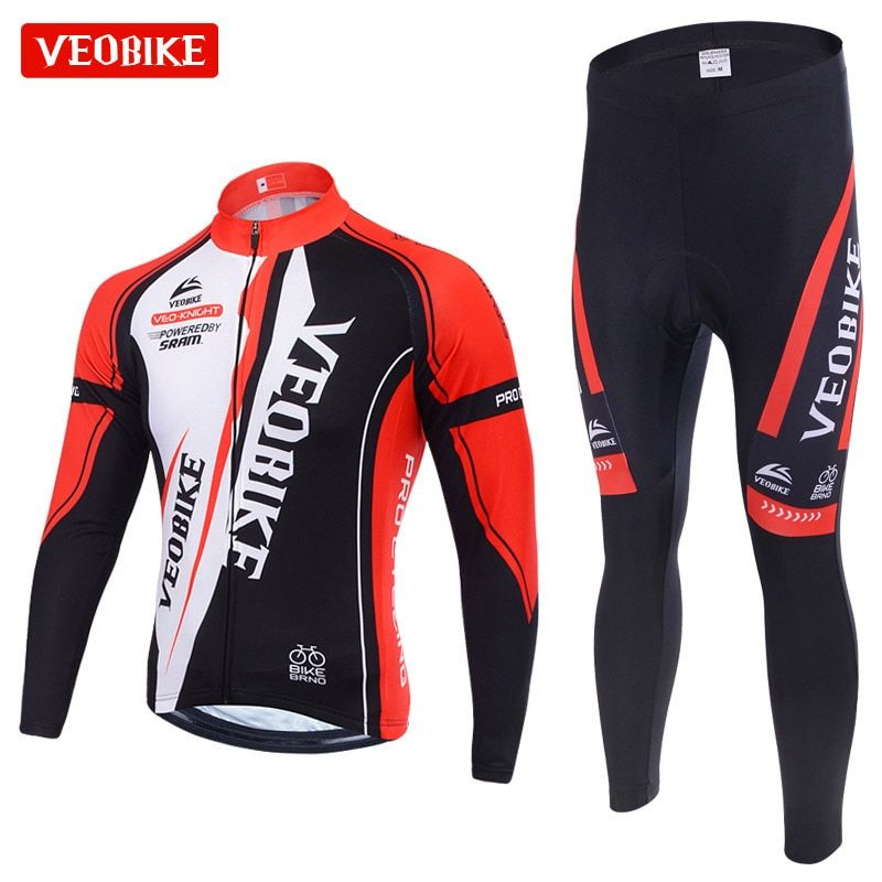 VEOBIKE Winter Thermal Brand Pro Team Cycling Jersey Set Long Sleeve Bicycle Bike MTB Clothing Pantalones Ropa Ciclismo Invierno