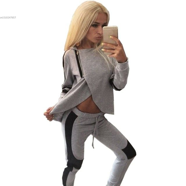 Gray Tracksuit 2 Pcs Set 2016 Winter Women Split Sweatshirt Set Casual Hoodies Set Long Sleeve SportSuit Clothing 41