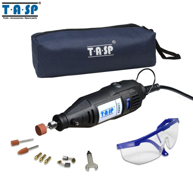 TASP 220V 130W Electric Mini Drill Grinder Rotary Engraver Tool Set with Safety Glasses and Accessories