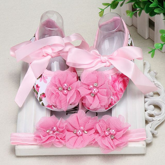 New Born Baby Shoes Girls Butterfly-knot Infant Leisure Baby First Walkers Girl Toddler Shoes Baby Schoenen Headband Set  Ping