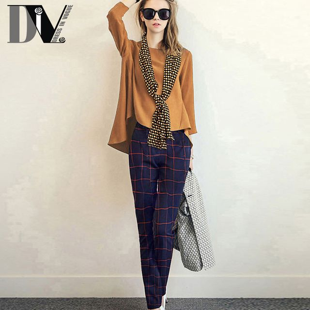 DIV Women Casual Autumn Femme Suits Solid Top+Plaid Pants+Scarf Three-piece Sets Korean Style Leisure Suits Plus Size S-2XL