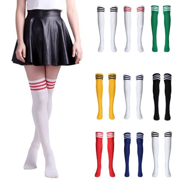UIDEAZONE 2017 New Women High Striped Over Knee Long Socks Stripe Tube Casual Sportwear Hosiery