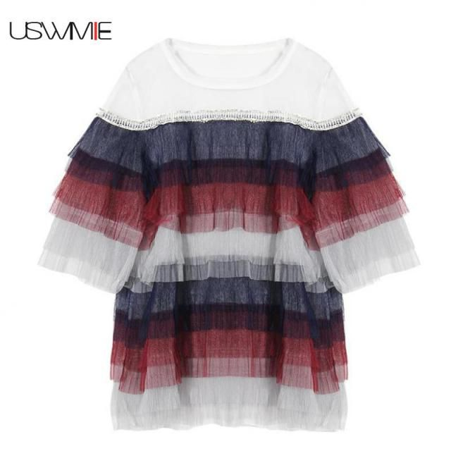 USWMIE 2017 Summer New Fashion Lotus Leaf Level Grenadine Hem Drill Nail Edge Women Tops O-neck Short Sleeve Personalized Blouse