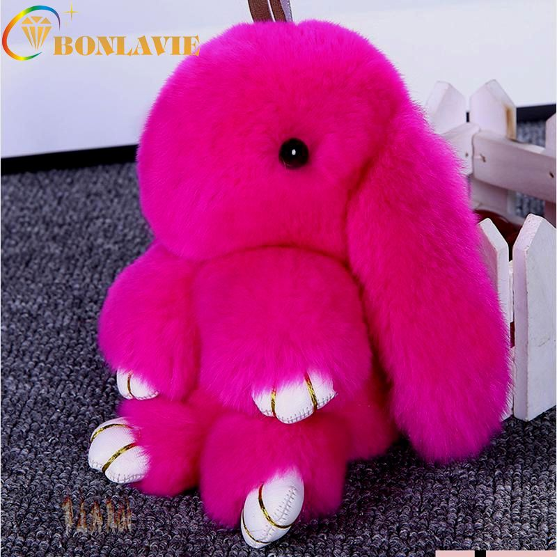 BONLAVIE Bunny Keychain Fluffy Rabbit Keychain Rex Genuine Rabbit Fur Key Ring Pom Pom Toy Doll Bag Charm Car Key Holder Trinket
