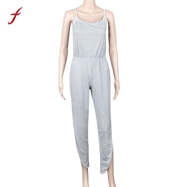 2017Women Casual Sleeveless Spaghetti Strap Jumpsuits Leotard Coveralls