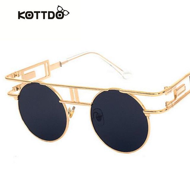 KOTTDO Fashion VINtage Round Sunglasses Women Men Brand Design Retro Hip Hop Versae Shade UV400 Sun Glasses oculos masculino