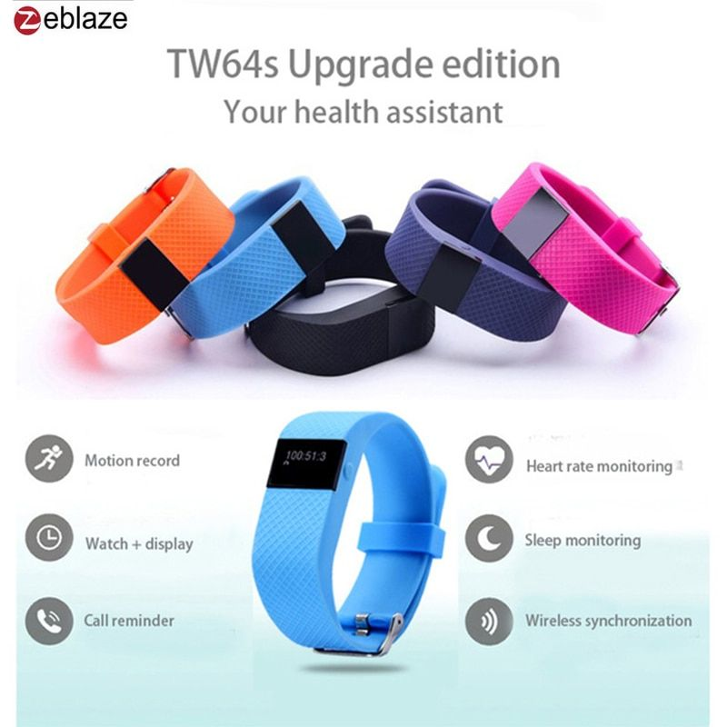 ZeblazeTW64S Heart Rate Monitor Pulso Inteligente Banda Pulse Measure Smart Band Sport Smart Wristband Health Fitness Tracker