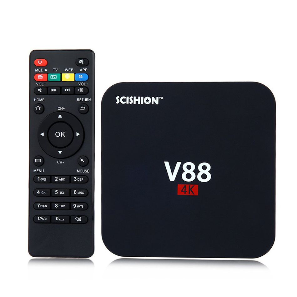 SCISHION V88 plus TV Box Android 5.1 WiFi Set Top Box Rockchip 2G/8G 4 USB 4K 2K WiFi Full Loaded Quad Core 1.5GHZ Media Player