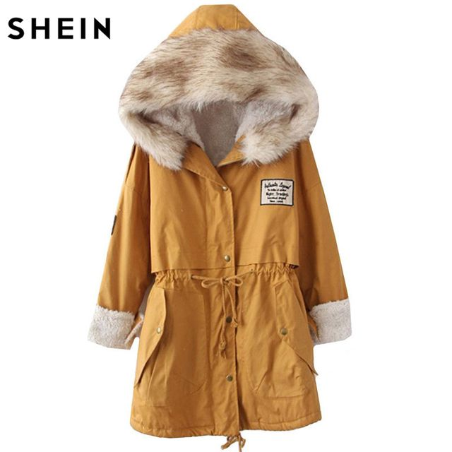 SHEIN 2016 Autumn/Winter Parkas Casual Women Outerwears Twin Pockets Long Sleeve Faux Fur Hooded Buttons Coat