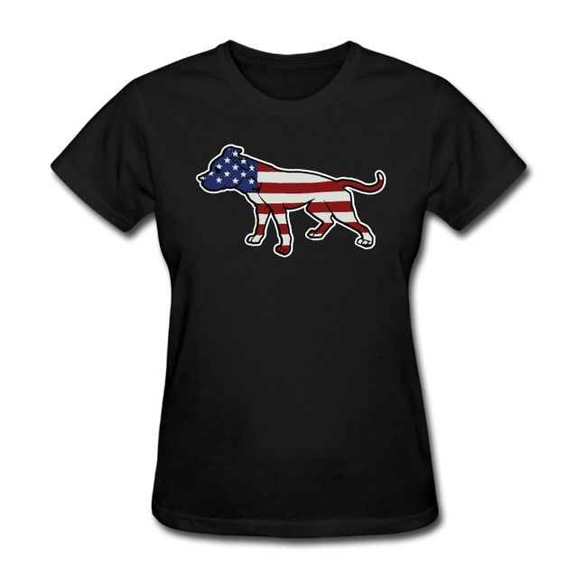 Womens Pit Bull American Pitbull Standing Proud graphic short sleeve T Shirt college Black