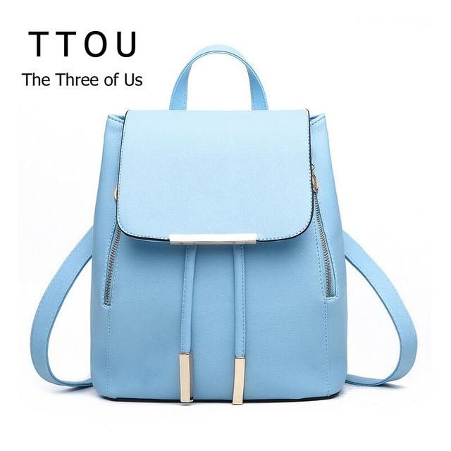 TTOU Women PU Leather Backpacks Vintage Daypack Mochila Feminina Rucksack School Bags for Teenager Girls Fashion Travel Bags