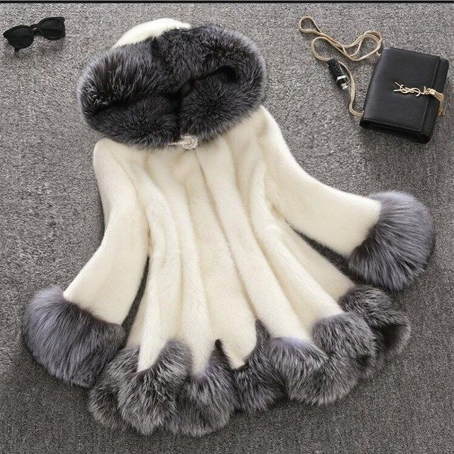 2018high imitation fur coat women silver fox fur collar hooded rabbit fur coat medium-long overcoat plus size S-4XL winter coat