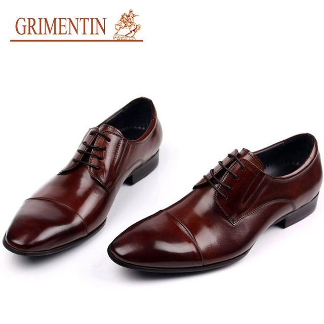 GRIMENTIN Top Quality Leather Men Dress Shoes Genuine Leather Male Shoes 2017 Luxury Men Business Shoes For Man Office Size:11
