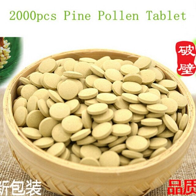 2000PCS Organic Pine Pollen Powder Tablet 99 Percent Broken Cell Wall for Optimal Absorption and Potency