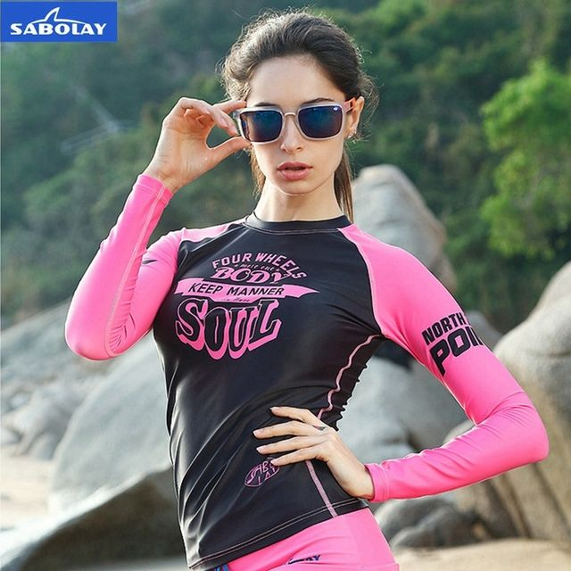 SABOLAY rashguard shirt lycra Surf quick dry tights beach clothes suit protect hurt by jellyfish sunshine Proof UV Protection