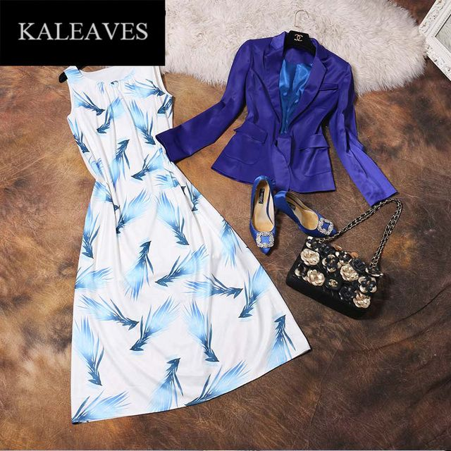 OL Set Blue Drawstring Suit Jacket + Light Blue Feathers Printed Midi Dress 2016 Fashion Runway Women's Summer Elegant Set