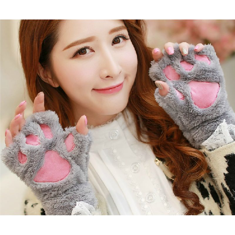 New Lovely Fluffy Bear/Cat Plush Paw/Claw Gloves Novelty Halloween Soft Toweling Half Covered Women's Mittens Gloves 6 colors