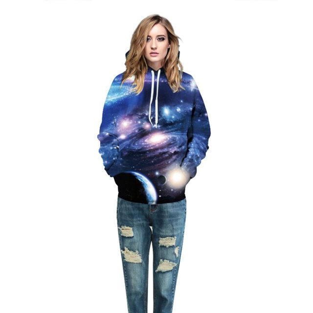 Galaxy Hoodies Women 3d Graphic Planets Fashion Printed Sweats Tops Autumn Winter Hipster Jumper Cool Hooded Sweatshirt Female