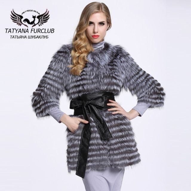 New Natural Real Silver Fox Fur Coats Women Genuine Fur Outwear Overcoat Customizable Long Design Stripes Fox Fur Coat BF-C0006